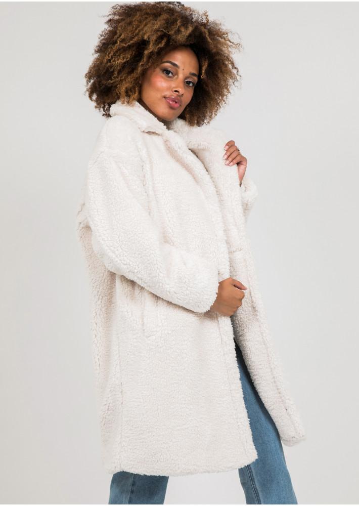 Manteau long beige effet peau de mouton
