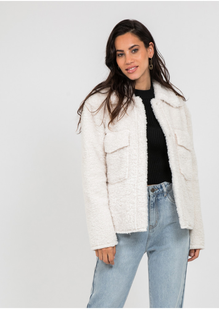 Teddy jacket in cream