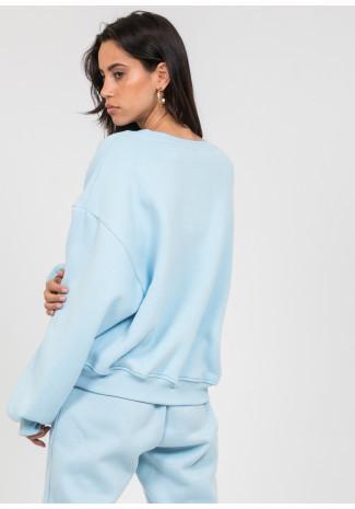 Cotton oversized sweatshirt in blue