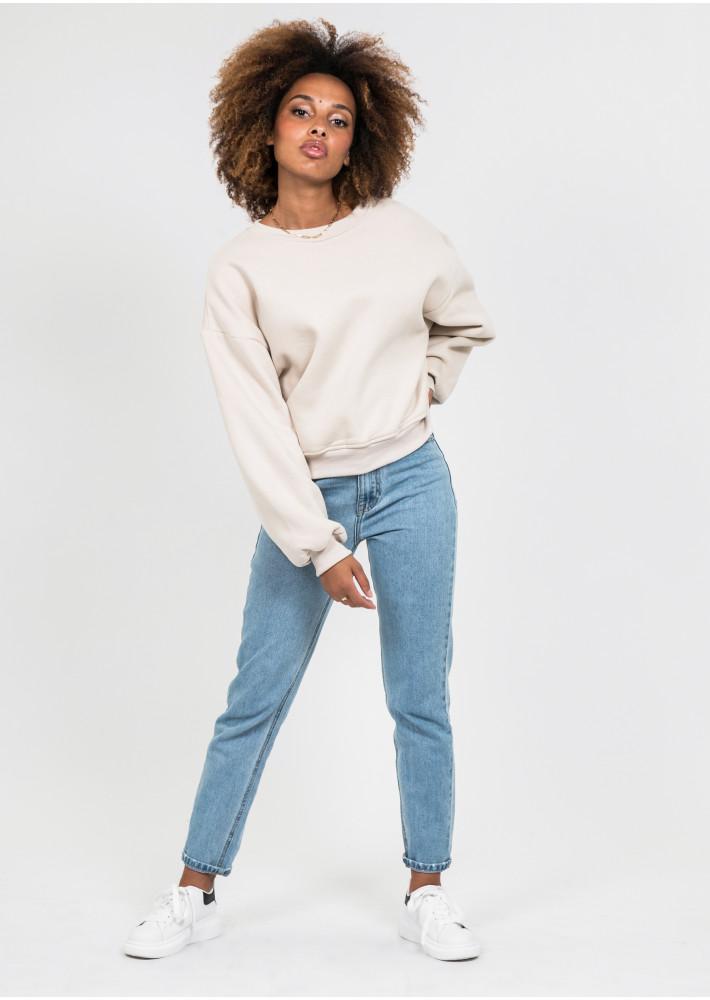 Cotton oversized sweatshirt in beige