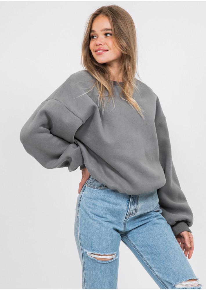 Cotton oversized sweatshirt in dark grey