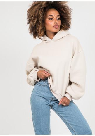 Oversize cotton hoodie in beige