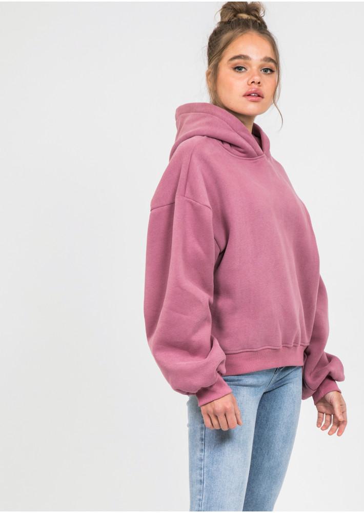 Oversize cotton hoodie in plum