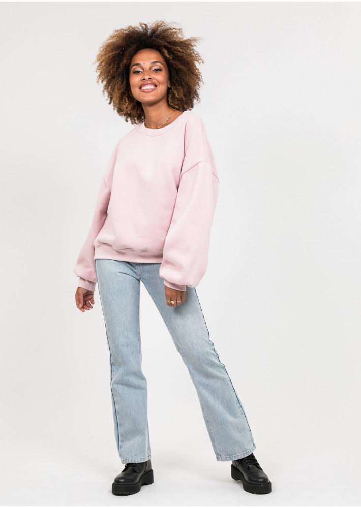 Cotton oversized sweatshirt in dusty pink