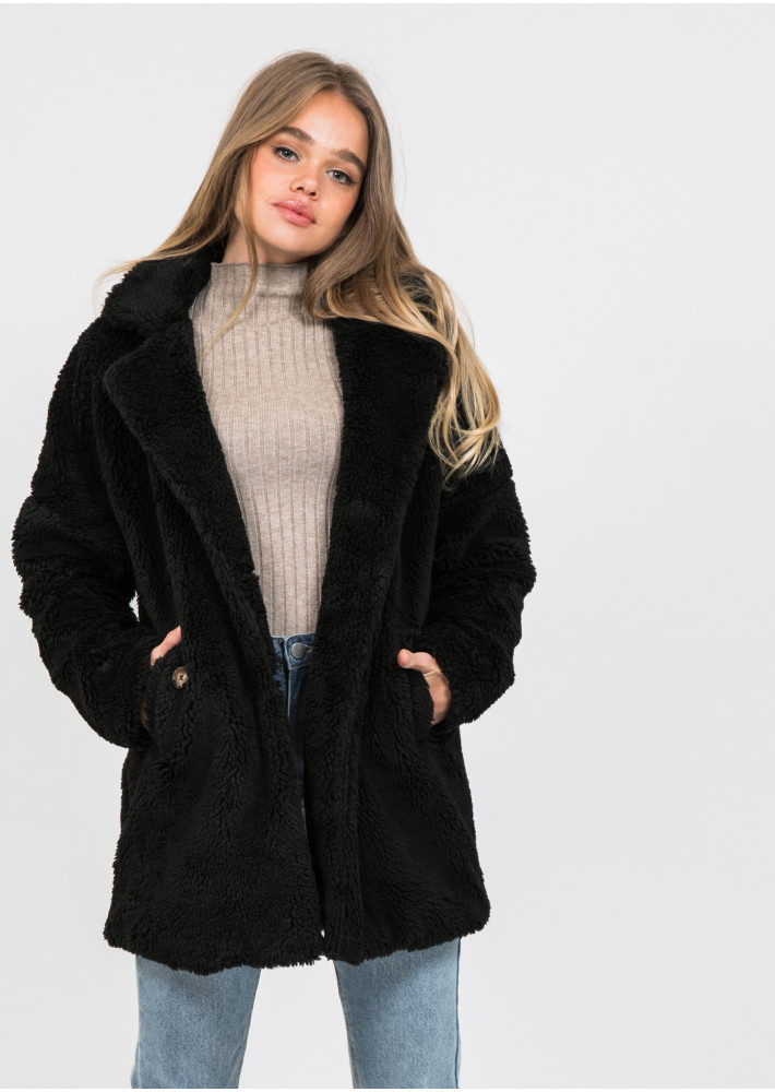 Faux fur coat in black