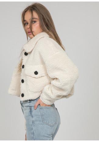 Veste courte en imitation peau de mouton beige
