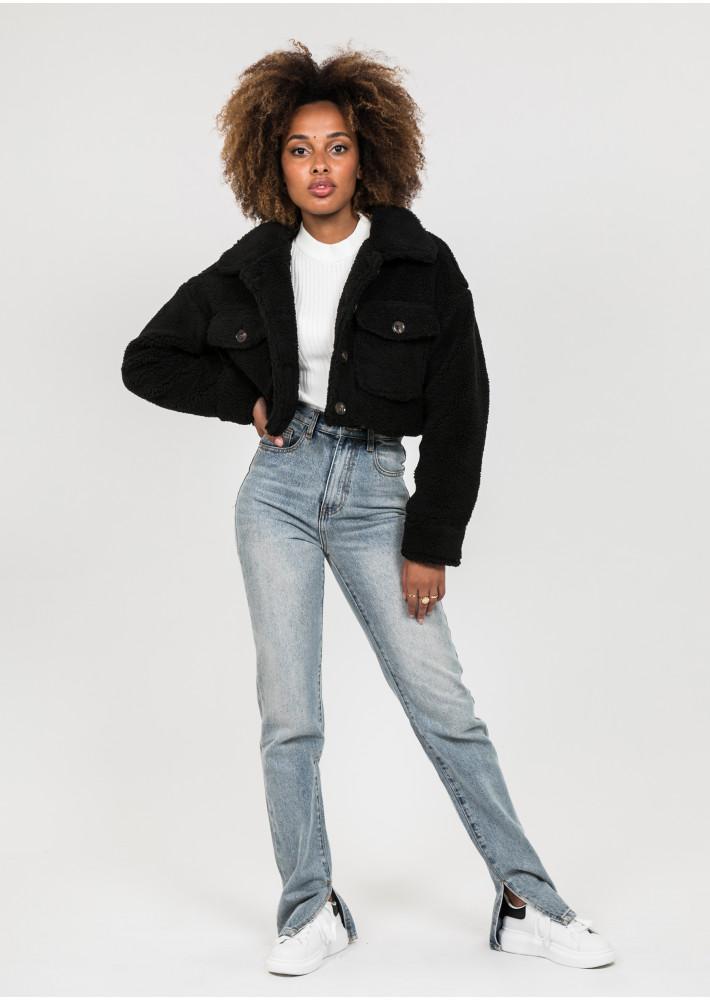 Cropped teddy jacket in black