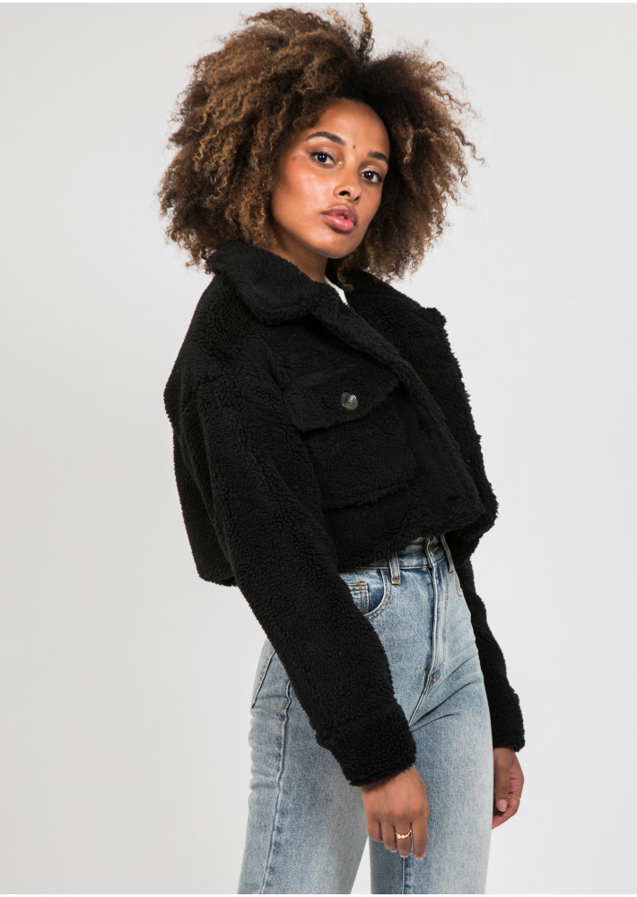 Veste courte en imitation peau de mouton noir
