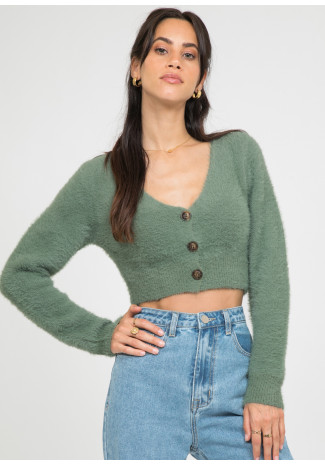 Fluffy cropped cardigan in green