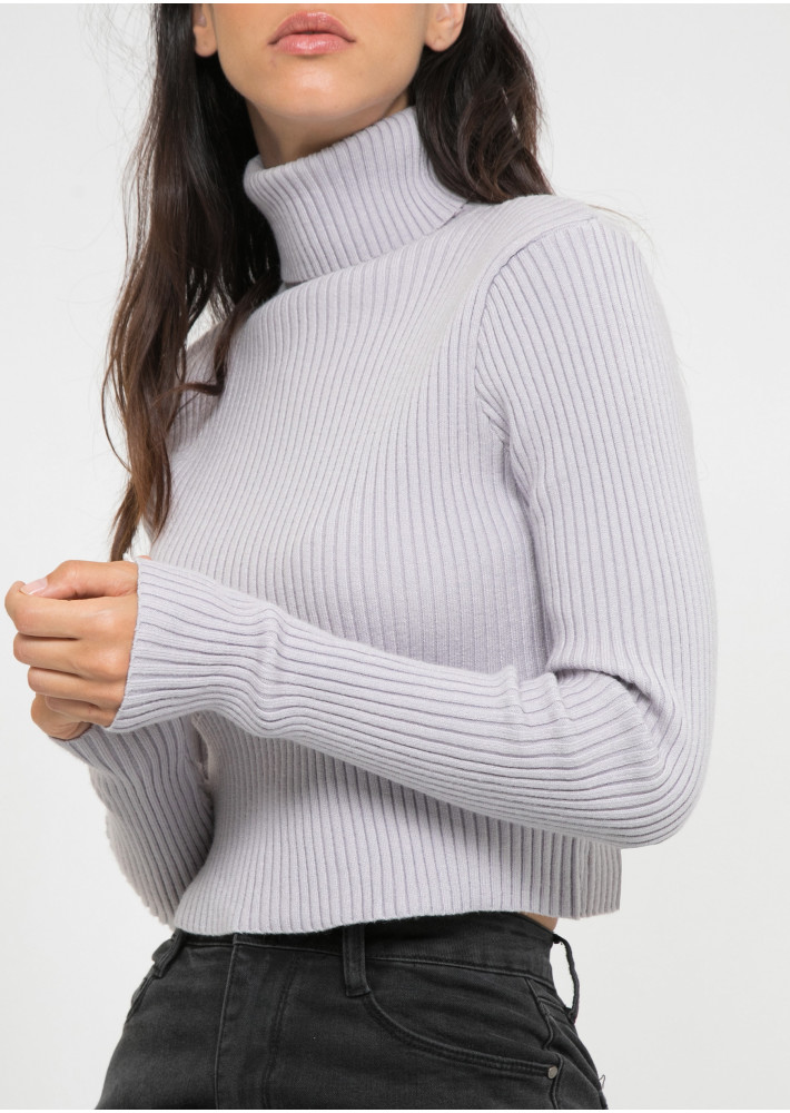 Ribbed roll neck jumper in mauve