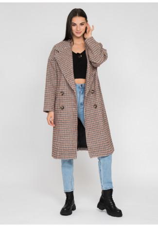 Long oversized checked coat