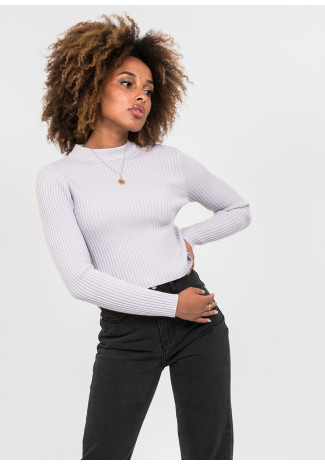 Crew neck ribbed jumper in mauve