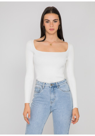 Ribbed square neck top in white