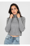 Ribbed roll neck jumper in light grey