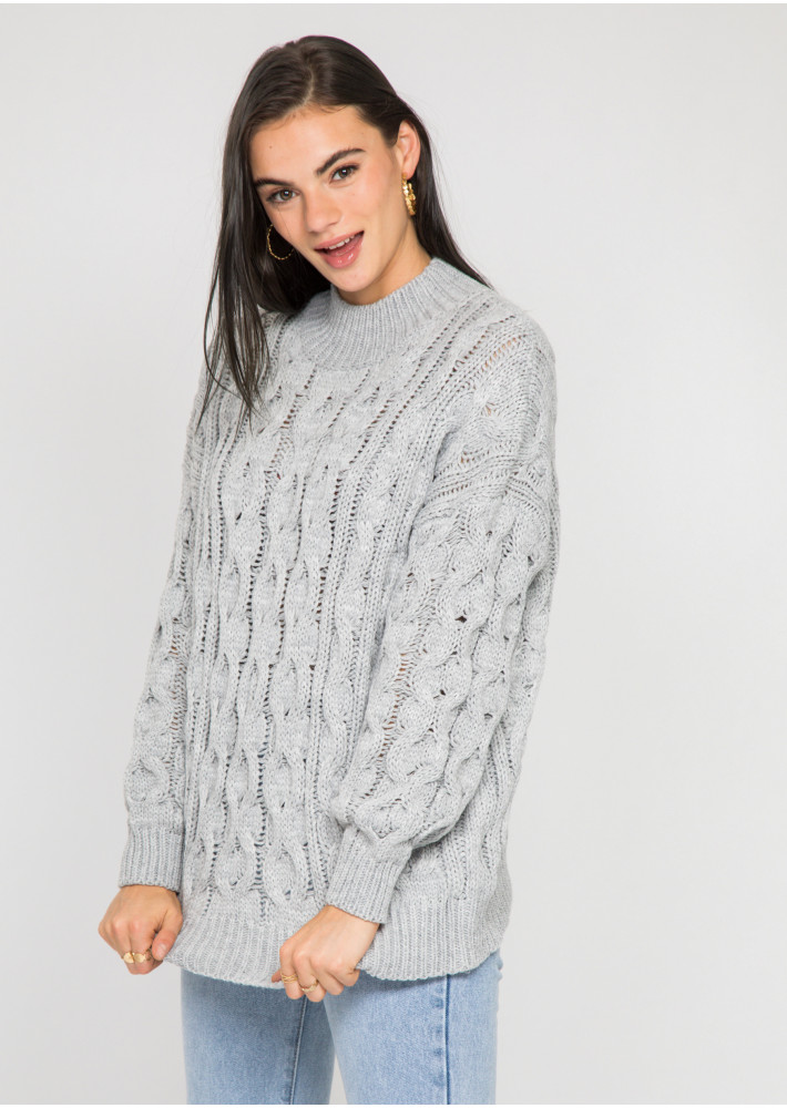 Cable knit high neck jumper in grey