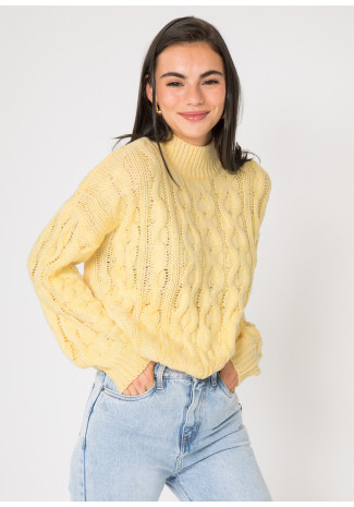 Cable knit high neck jumper in pastel yellow