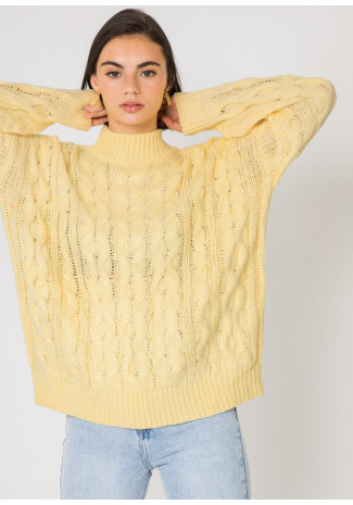 Cable knit high neck jumper in yellow