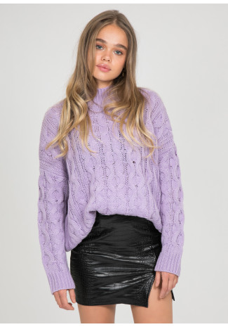 Pull col haut en maille torsadée lilas