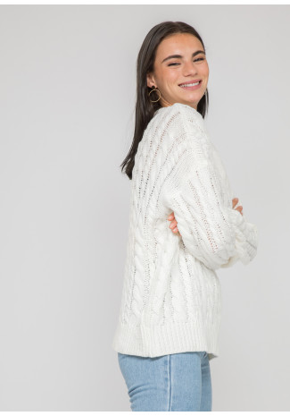 Cable knit round neck jumper in white