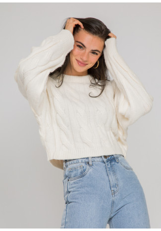 Cable knit jumper in cream
