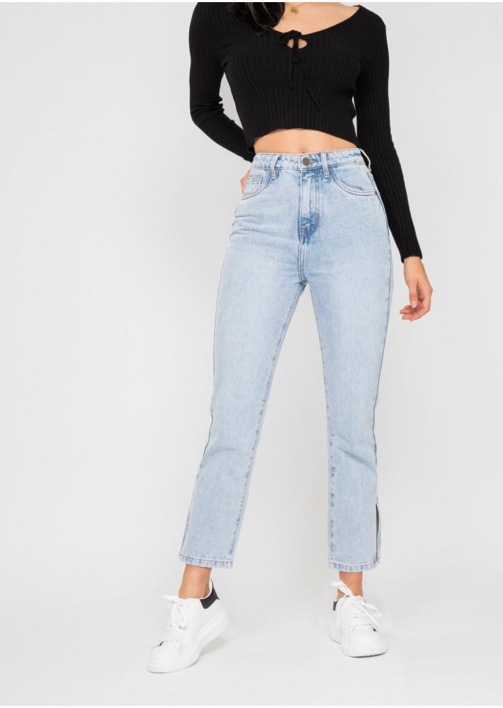 Split hem jeans in light blue