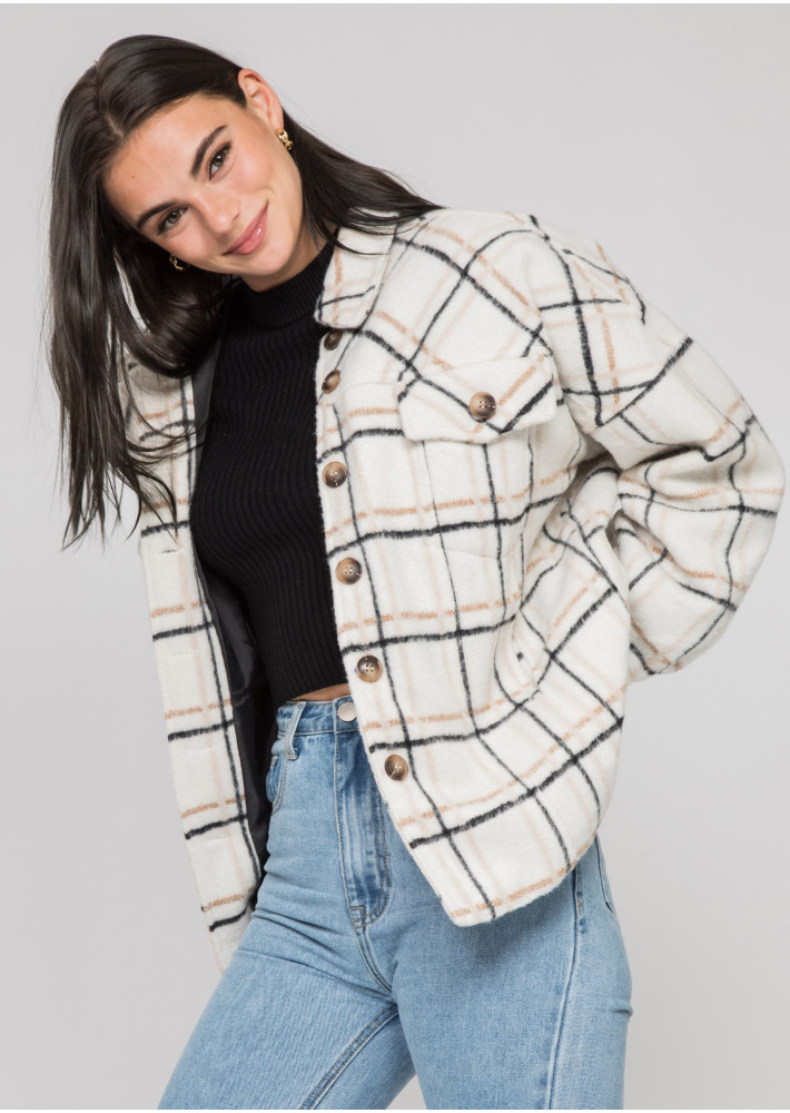 Checked cotton jacket in beige