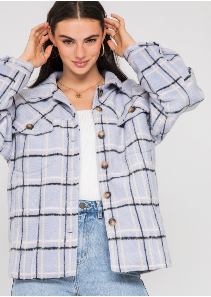 Checked cotton jacket in lilac