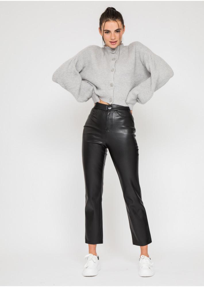 Pantalon droit en similicuir noir