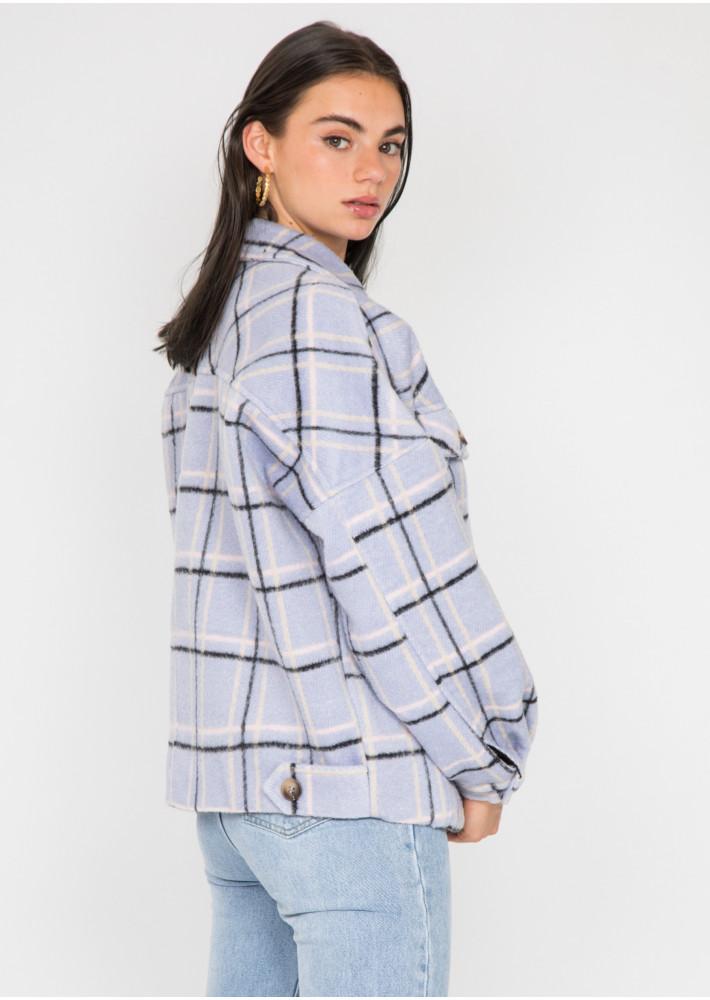 Veste à carreaux lilas en coton