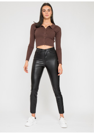 Leather look skinny trousers in black