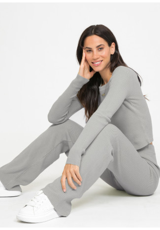 Lounge ribbed co-ord set in grey