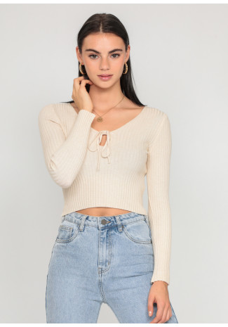 Jumper with cut out detail in beige