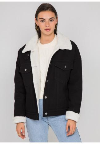 Sherpa trucker denim jacket in black