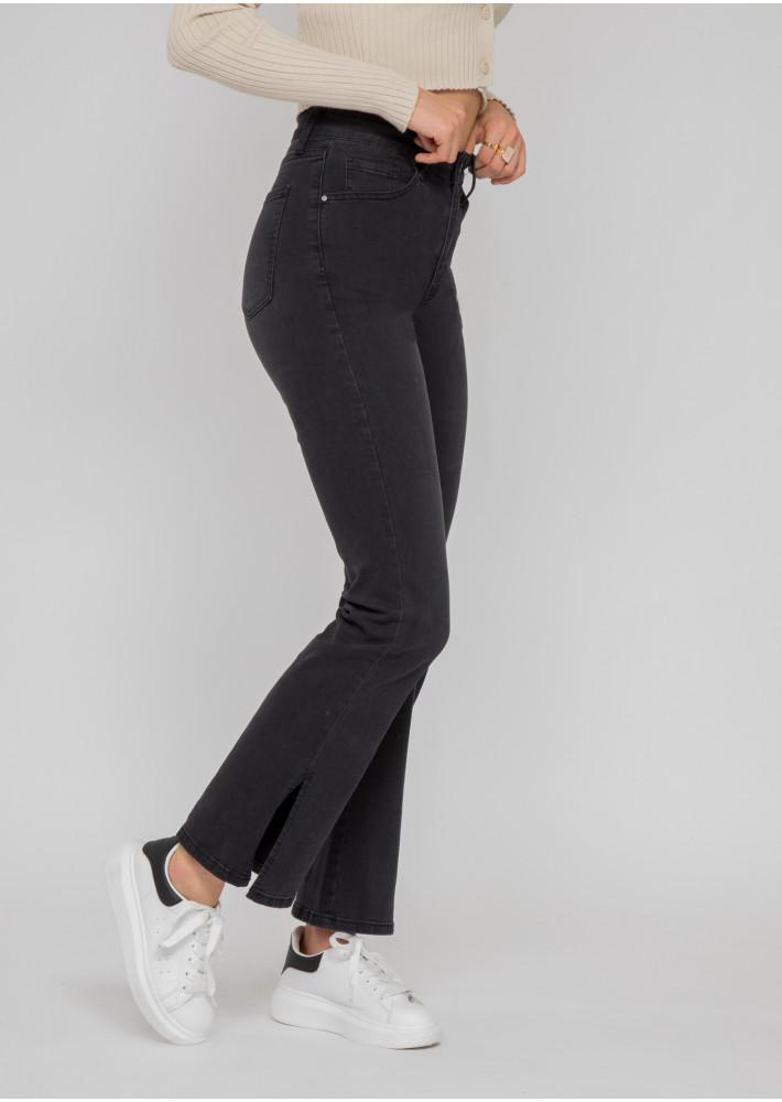 Split hem jeans in dark grey