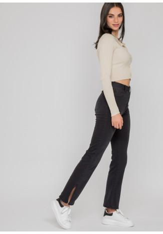 Jeans de tiro alto con detalle de aberturas en gris oscuro