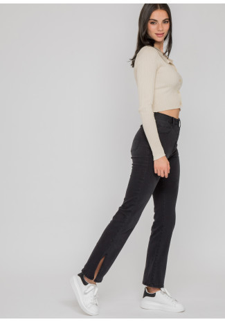 Split hem jeans in dark grey