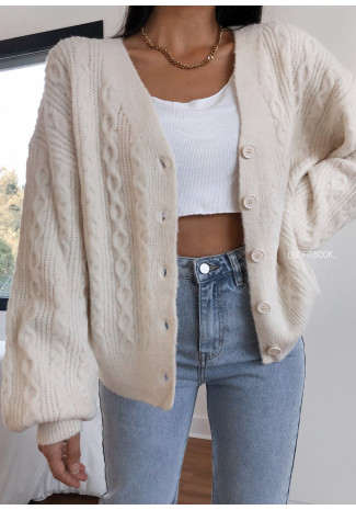 Cable knit cardigan in beige