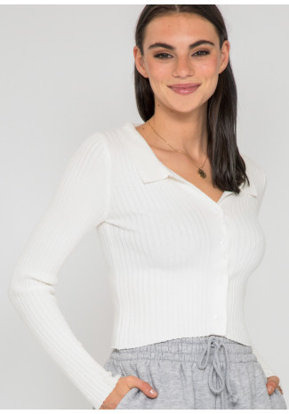 Ribbed jumper with revere collar in white