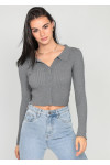 Ribbed jumper with revere collar in grey