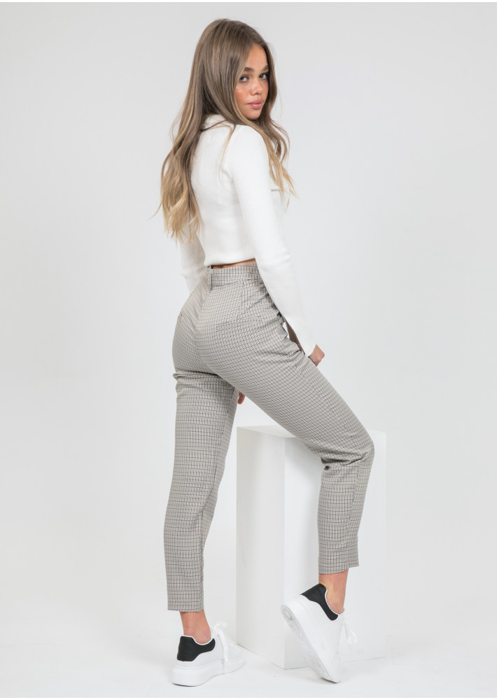 Check skinny trousers in beige