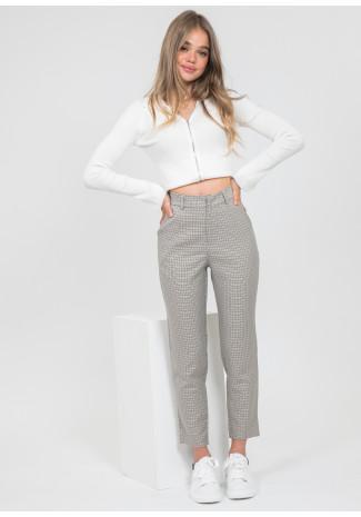 Pantalon skinny  à carreaux beige