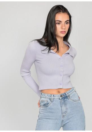 Ribbed jumper with revere collar in lilac