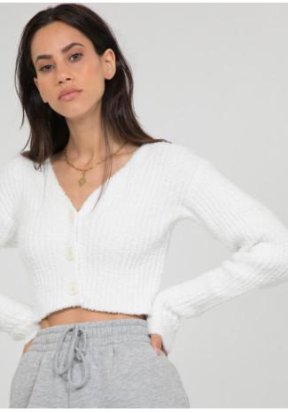 Cardigan côtelé pelucheux blanc