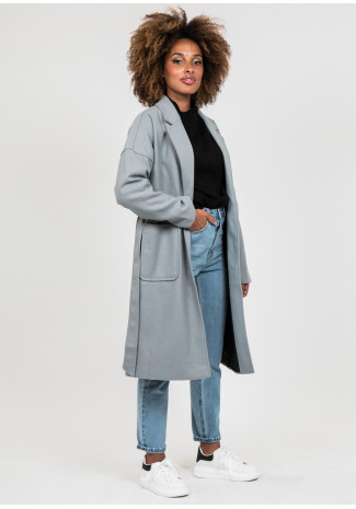 Grey long belted coat