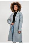 Grey long belted coat