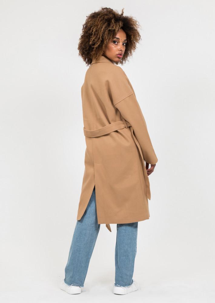 Manteau long camel avec ceinture à nouer