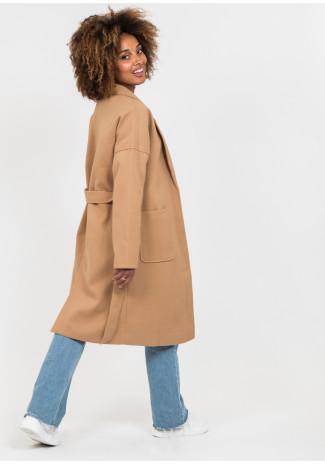 Camel long belted coat