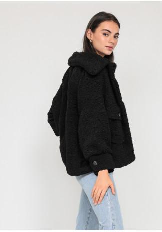 Veste oversize effet peau de mouton noir