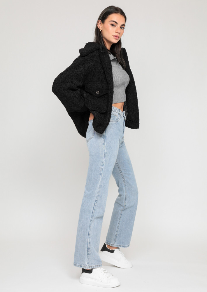 Oversize teddy borg jacket in black