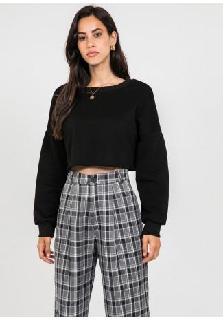 Pantalones a cuadros de pernera ancha en negro